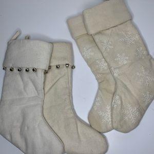 Pottery Barn Christmas Stockings Cream Set of 4